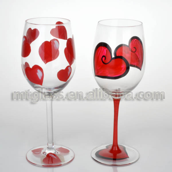 4pcs Set 16ozvalentine S Day Wine Glasses With Hand Painted In Wine