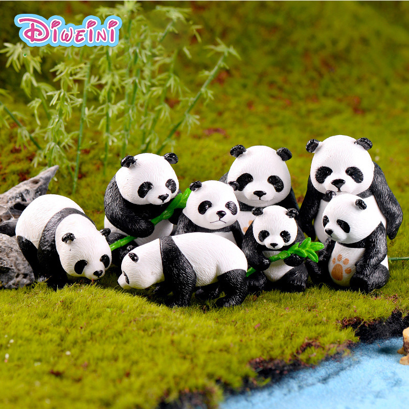 Statue-Toys Figurine Miniature Animal-Model Bamboo Home-Decoration Simulation Cartoon