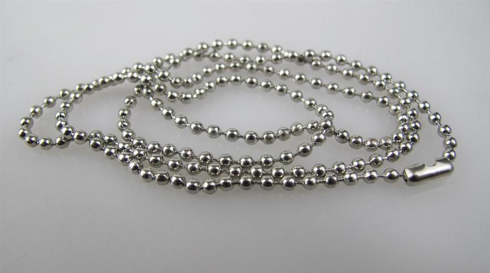 diameter 2.4mm length 70cm silver plated steel beads chain ball chain for dog tag