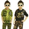 Бесплатная доставка! Новый 2014 atumn и зимой детская одежда, камуфляж, военная одежда набор для мальчика, 100% хлопок одежда набор