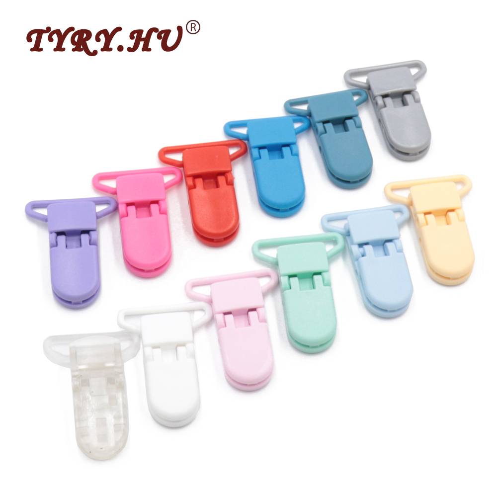 TYRY.HU 20Pcs 25mm Tail Anti-Off Pacifier Clips Dummy Soother Clip Non-Toxic&Tasteless Safe For Baby Pacifier Chain Accessories