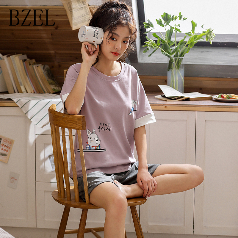 BZEL Top& Shorts Pajama Sets Women Short Sleeve Nightwear Cotton Homewear Round Neck Pijama Mujer Casual Sleepwear Lingerie 2pcsPajama Sets   -