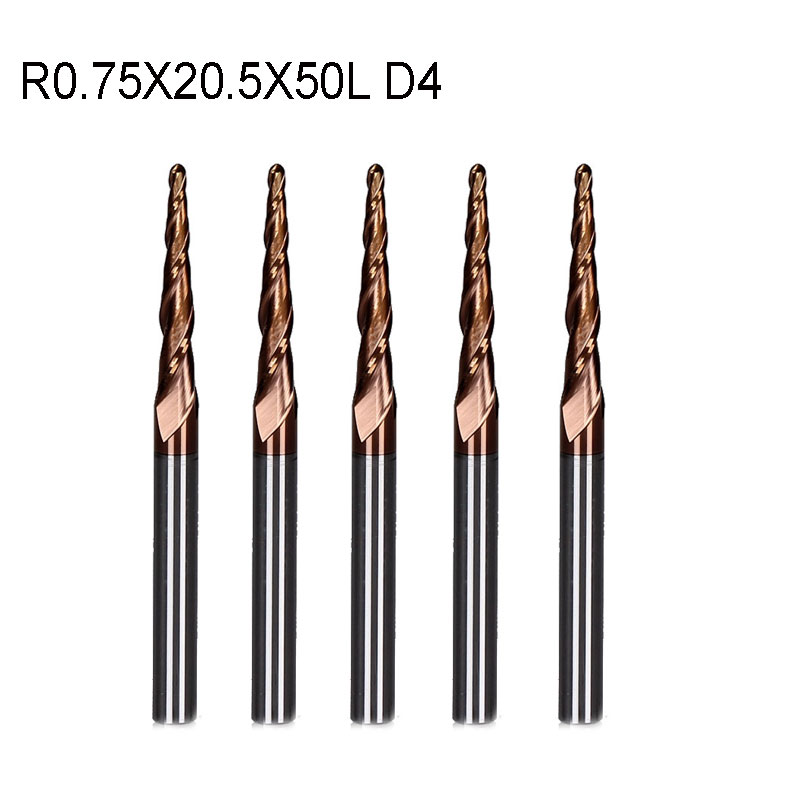5pcs/lot R0.75*D4*20.5*50L*2F HRC55 Tungsten solid carbide Coated Tapered Ball Nose End Mills taper and cone milling cutter  цены