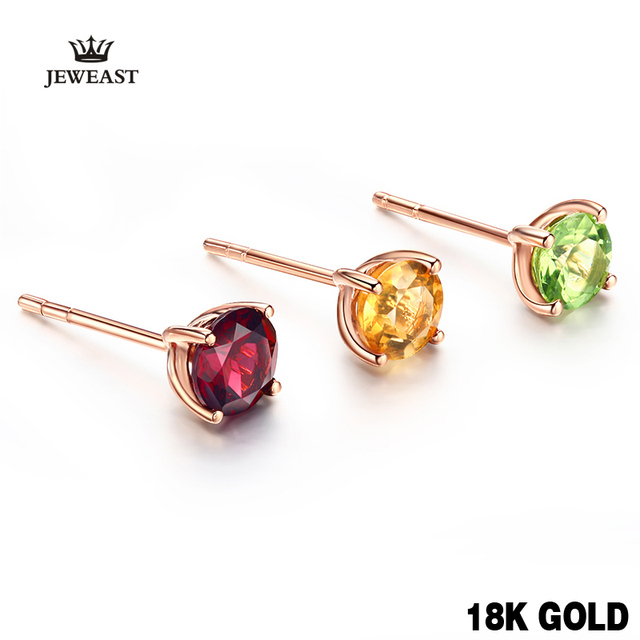 18k Pure Gold Citrine Garnet Opaz Olivine Amethy Earring Fashion Beautiful Natural Classic Elegant Real 750 Solid Party Women