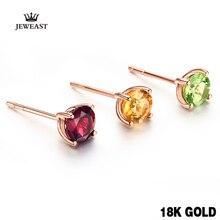 18k Reinem Gold Citrin Granat Opaz Olivin Amethy Ohrring Mode Schöne Natürliche Klassische Elegante Echt 750 Solide Partei Frauen