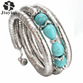2017 Hot Sale Vintage Turquoise Beads Crystal Bangles Fashion Bracelets for Women New Tube Chain Fine Jewelry Christmas Gift