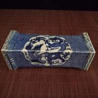 Exquisite Chinese old style blue and white porcelain dragon phoenix mandarin duck auspicious pillow