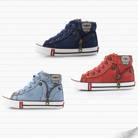 Baby Boys Spring Autumn Canvas Shoes Rubber Sole Sneakers For Kids High Tops Lace Up Skate