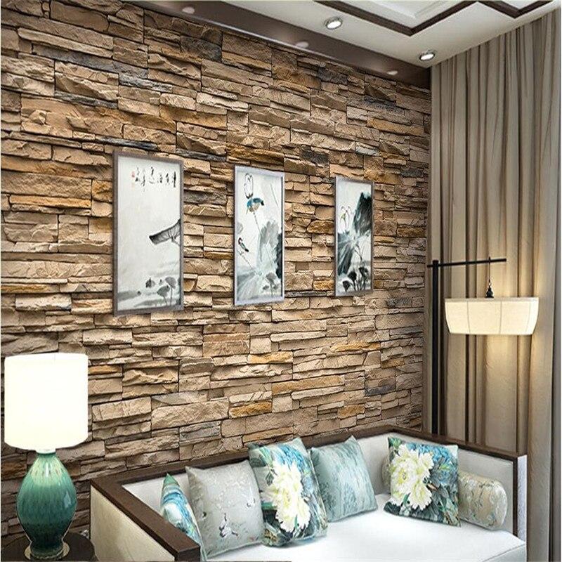 US $8.85 41% di SCONTO|Beibehang Carte Da Parati Moderne Pittura Soggiorno  camera HD imitazione muratura in pietra facciata camera da letto dell\'hotel  ...