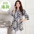 New tops blusas femininas 2016 summer long shirt plus size women's fluid print casual loose 3/4 sleeve shirts female blouse 4XL