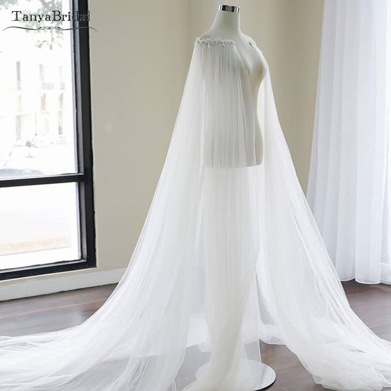 Two Layers Tulle Wedding Cape 2019 Bohemian Fairy Bridal Jacket Accessories 2m Length Elegant bolero women