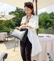 Estilo Militar de corea Media Manga Blanco Trench Abrigos Mujer Otoño 2013 Equipada Suelta prendas de Vestir Exteriores del Otoño