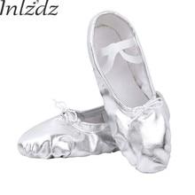 aa6542d76ce66 Inlzdz enfants filles enfants ballerines danse chaussures souples semelle  en cuir argenté ballerine souple pratique chaussures