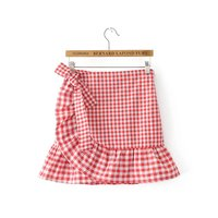 2017 Summer Gingham Skirt Ruffle Bow Belt Short Skirt