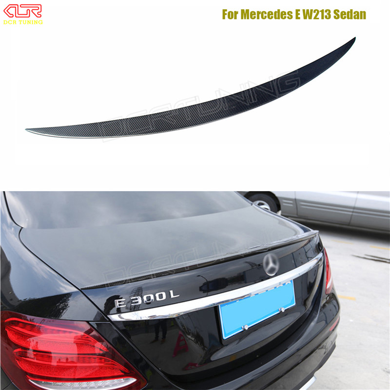 AMG Style For Mercedes W213 spoiler E Class 4-Door Sedan E200 E220 E250 E300 Carbon Fiber Rear Trunk Spoiler Wing 2016 - UP mercedes carbon fiber trunk amg style spoiler fit for benz e class w207 2 door 2010 2015 coupe convertible vehicles
