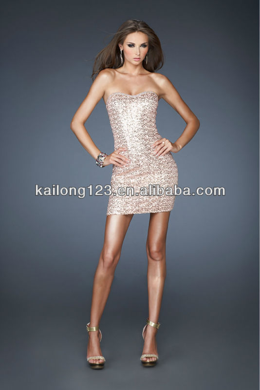 Aliexpress.com : Buy Gorgeous Strapless Short Sequin Gown ...