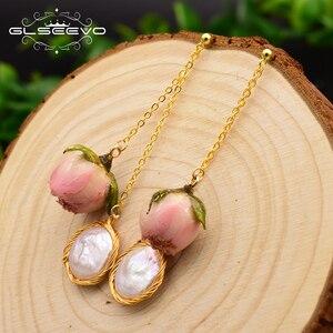 GLSEEVO oryginalny naturalne wody słodkiej perła baroku ręcznie robione naprawdę kwiat kropla kolczyki dla kobiet niestandardowe Party biżuteria GE0492