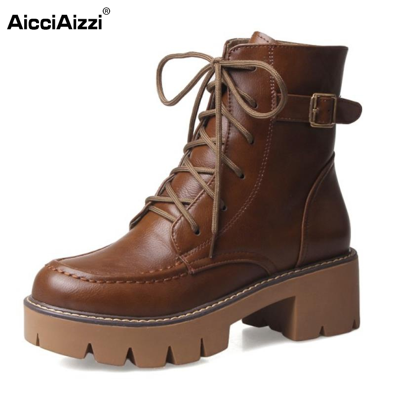 AicciAizzi Fashion Autumn Winter Platform Ankle Boots Women Lace Up Thick Heel Martin Boot Ladies Buckle Heels Shoes Size 34-43 odetina 2017 new fashion genuine leather women platform flat ankle boots lace up casual booties autumn winter shoes big size 43