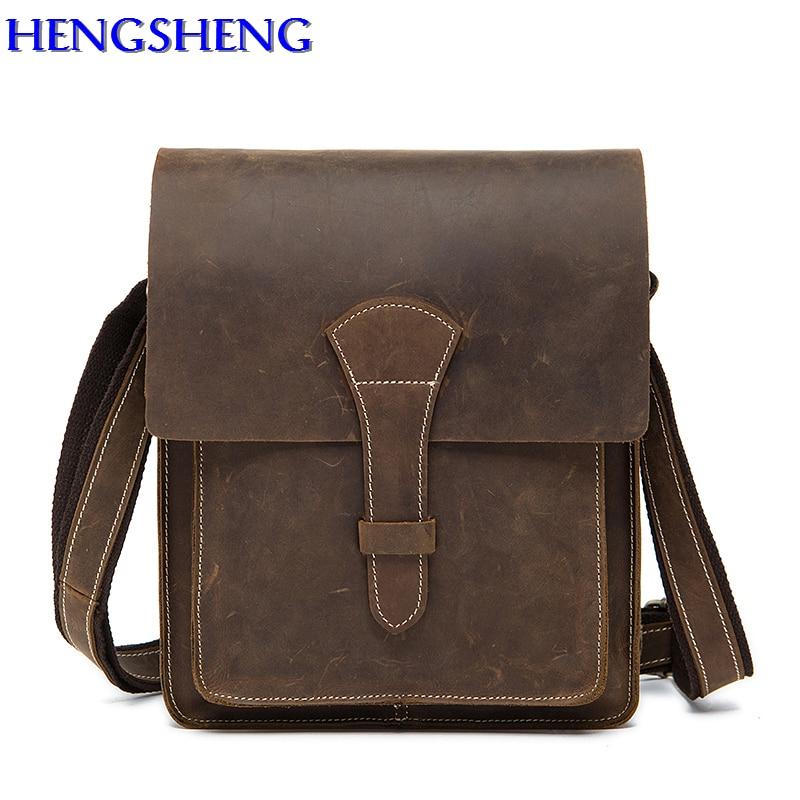 все цены на Hengsheng luxury vertical men bag with genuine leather men shoulder bags by brown gentlemen messengers bag of cow leather bags