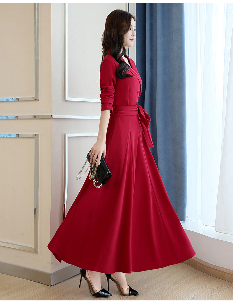 Spring and Autumn 2019 New Women's Dresses Korean Edition Long Sleeve Dresses Overlap Long Popular Temperament with Bottom 131