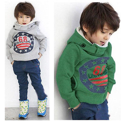 Baby Boys Kids' Thick Coat Tops Hoodies Jacket Sweater Outwear Pullover 2-7Y