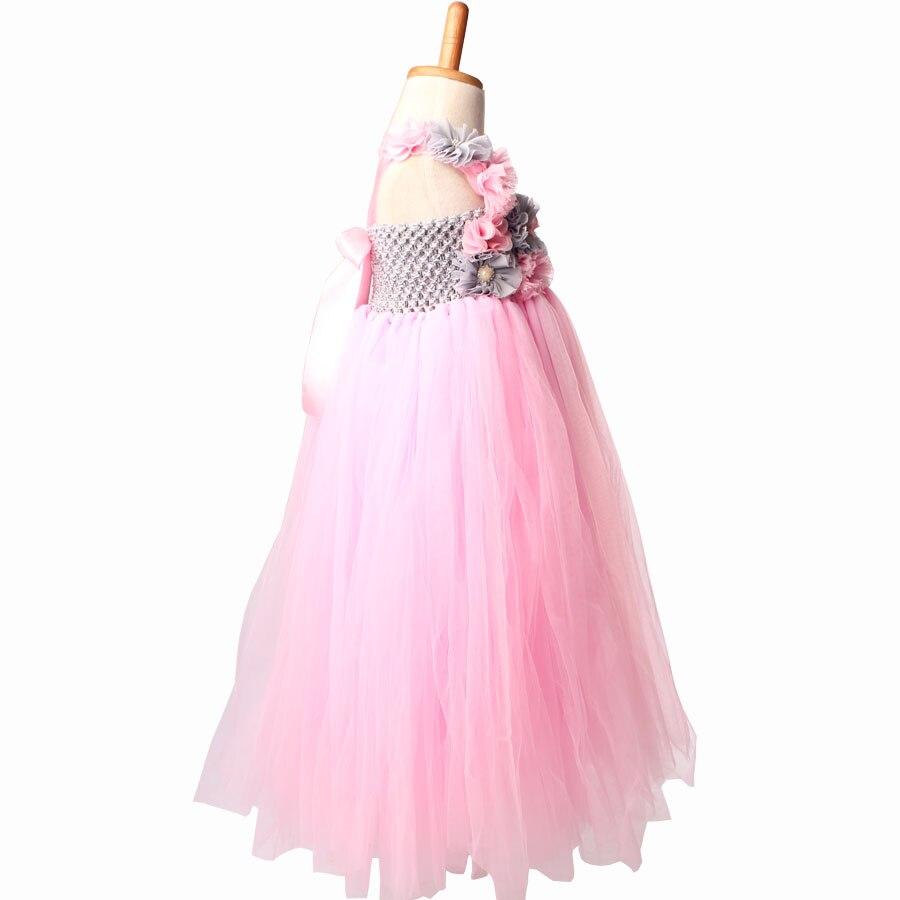 Pink And Grey Flower Girl Tutu Dress Vintage Wedding Children Tulle
