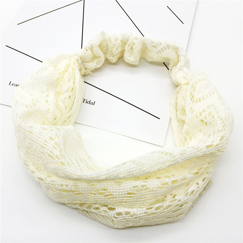Headbands For Girls Women  Lace Hollow Head Wrap Wide Headband Flower Hairband Hair Band Diademas Para Mujer 30SP10