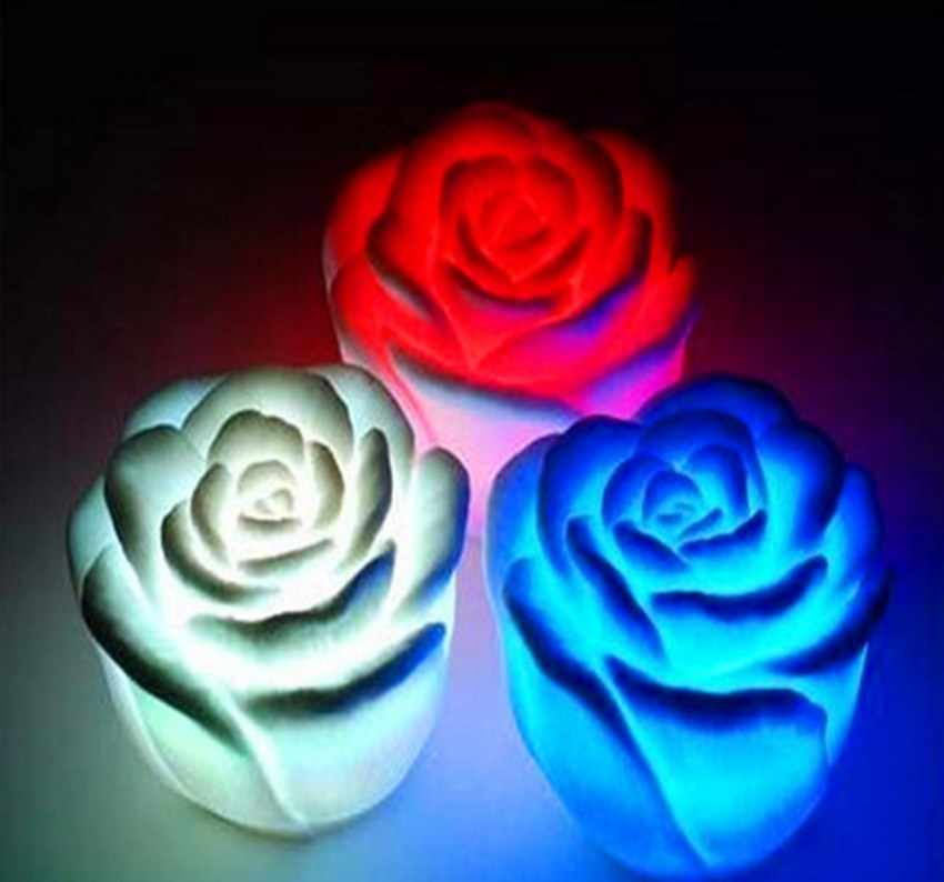 Hot Sell 7 Colors Changing Auto Flameless Romantic Rose Shaped LED Xmas Wedding Party