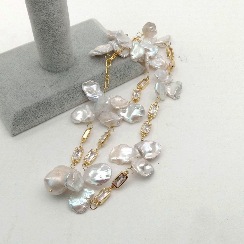 White Keshi Pearl Pendant Necklace Yellow Gold Cz Chain 22''