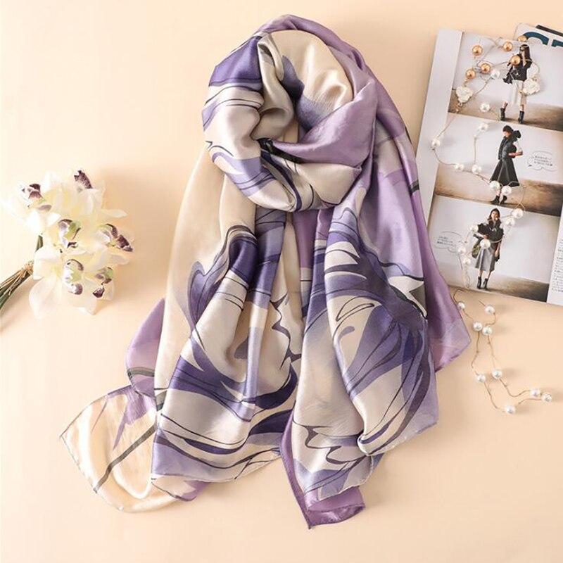 180*90cm Women Silk   Scarf   Flower Print Purple Beach Shawl Luxury Silk   Scarves     Wrap   Shawl   Scarves   Female Women's   Scarf