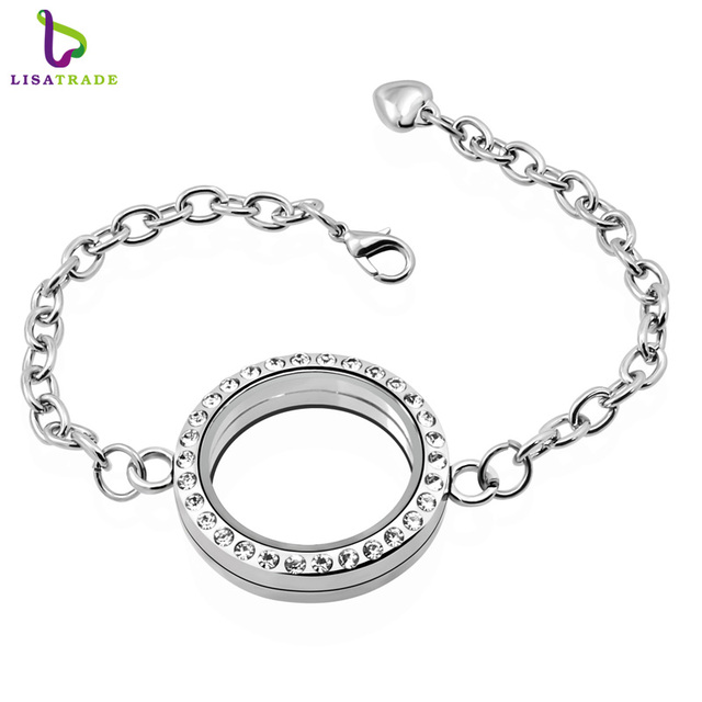 30mm Silver Round Magnetic Gl Floating Locket Bracelet Whole Fashion Bracelets Bangleslslb02
