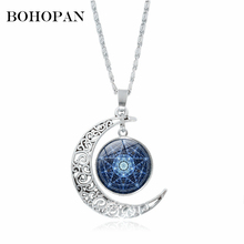 2018 New Half month Starry sky Necklaces For Women Silver Alloy Chian Geometric Pendants Fashion Jewelry collares Gift