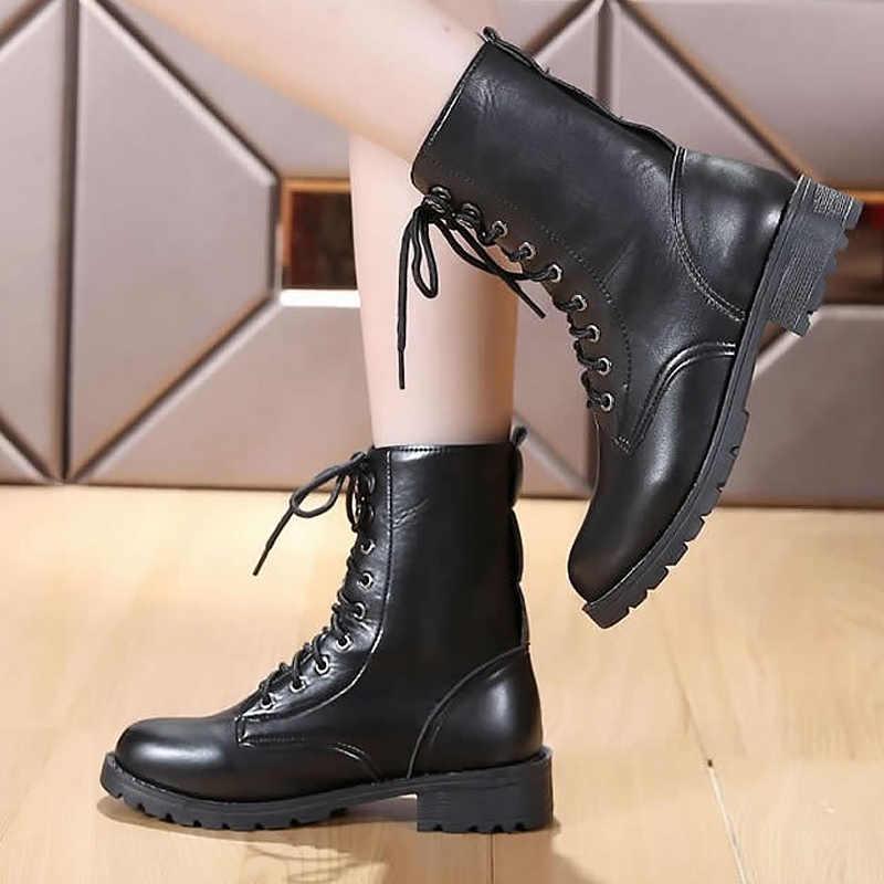 Yarım çizmeler kadınlar için siyah büyük boy 4.5-10 fleeces motosiklet botları artış rahat deri bot bayan bahar