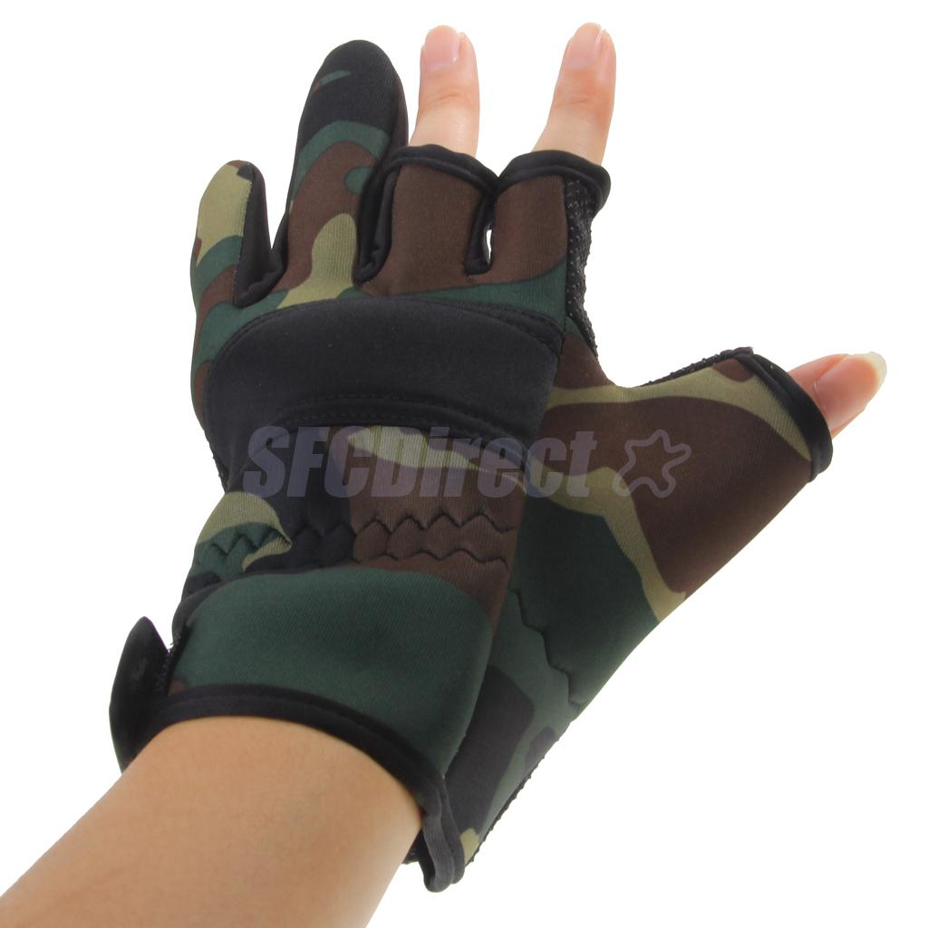 Fingerless gloves hunting - Outdoor Non Slip Fishing Gloves Hunting Gloves Waterproof Camouflage Green China Mainland