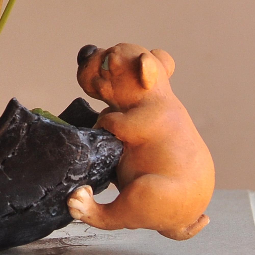 Image 4 - Everyday Collection Cute Dog Animal Decorative Flowerpot Succulent Artificial Green Plants Fairy Garden Pot Modern Home Decor-in Flower Pots & Planters from Home & Garden