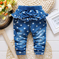 2016 hot sale spring and autumn Baby girls dot denim ruffles pants ,cotton denim infant casual pants for roupas de bebe