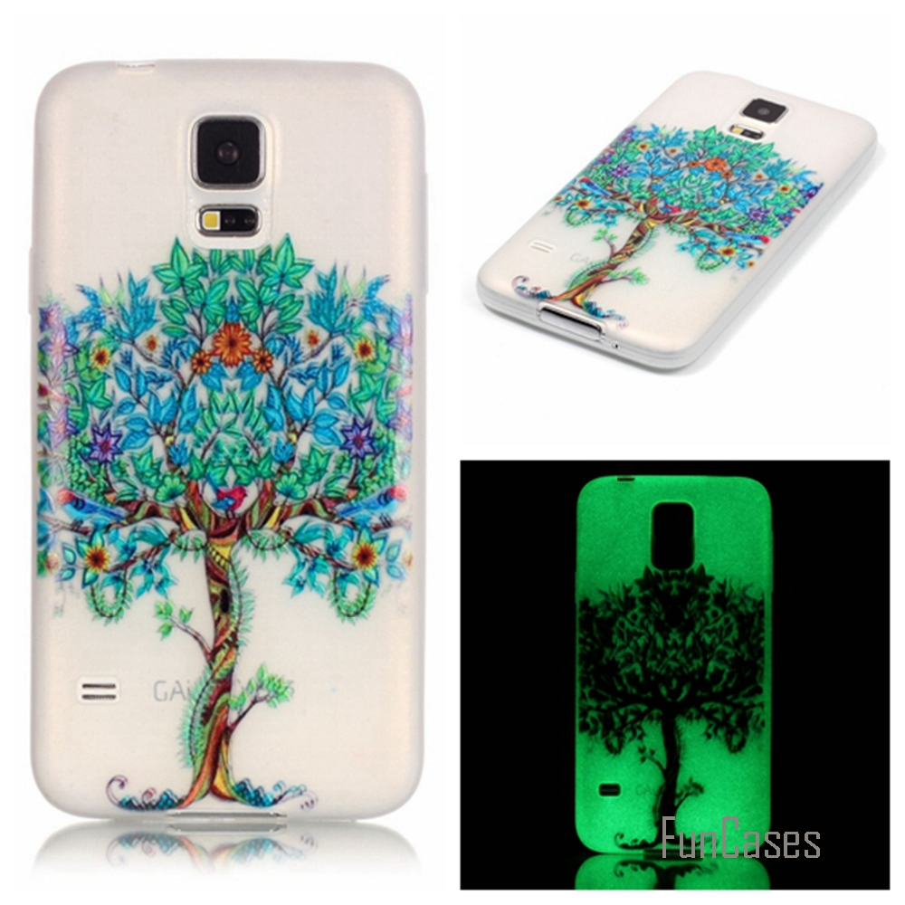New Fashion Luminous night Slim phone Cases for Samsung Galaxy S5 I9600 Fluorescence Soft TPU Silicon back cover skin