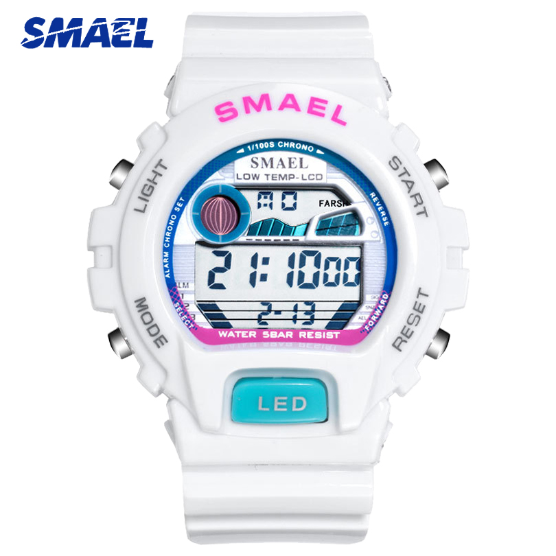 SMAEL Fashion White Ladies Watches Top Brand Luxury Digital Quartz Women Wristwatch Casual Women's Watch Clock Relogio Feminino
