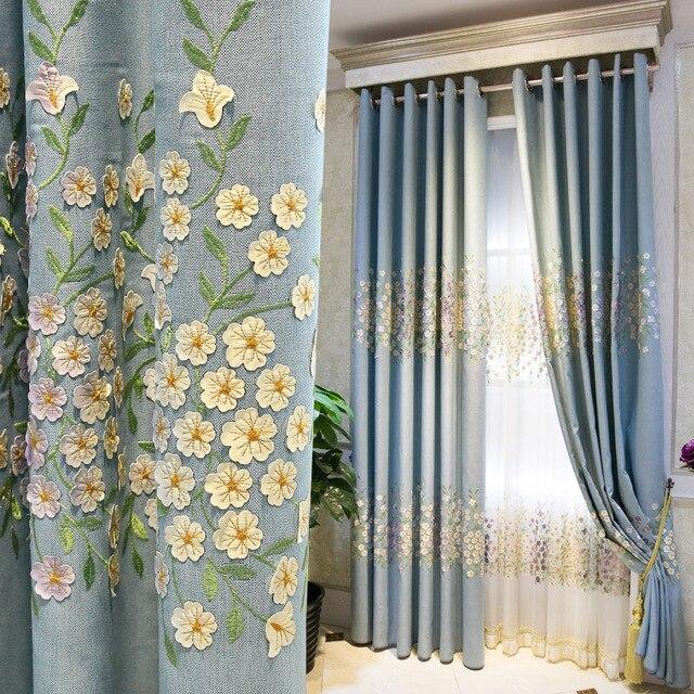 Bon 3D Embroidery Flower Curtains Tulle Blue Garden Cotton Linen Curtain For  Living Room Bedroom Floor Window