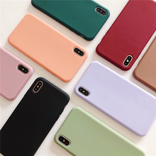 Jelly candy color phone case fundas for iphone 8 7 6 6s plus x xr xs max 10 matte simple solid frosted silicone soft