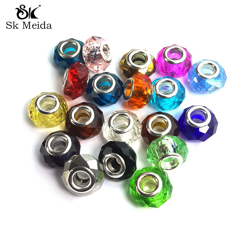 100pcs 14mm European Style Murano Glass Beads Big Hole Missangas Loose Beads Lustre Jewelry Components Bead Silver Plated Druzy
