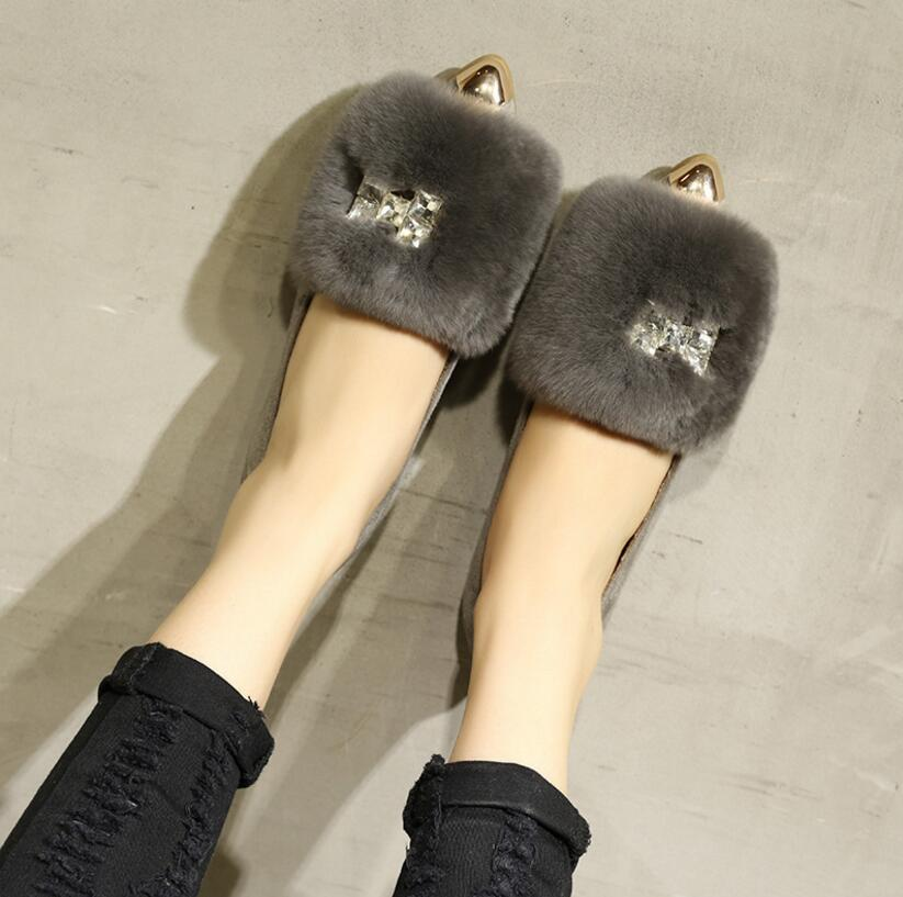 16 Casual Loafers Fashion Women Flats Peas Lace Up Comfortable Flat Platform Shoes Woman Rabbit hair warm in winter Sizes 34-43