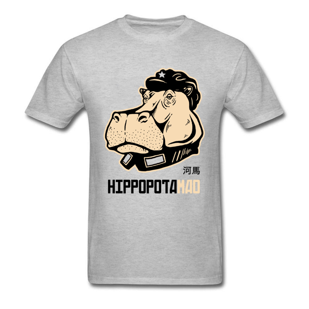 Men Like Hippopotamus 2018 Grey T-Shirt For Guys Cartoon Funny Top Tee Shirts Custom Store Family Cotton Clothing image