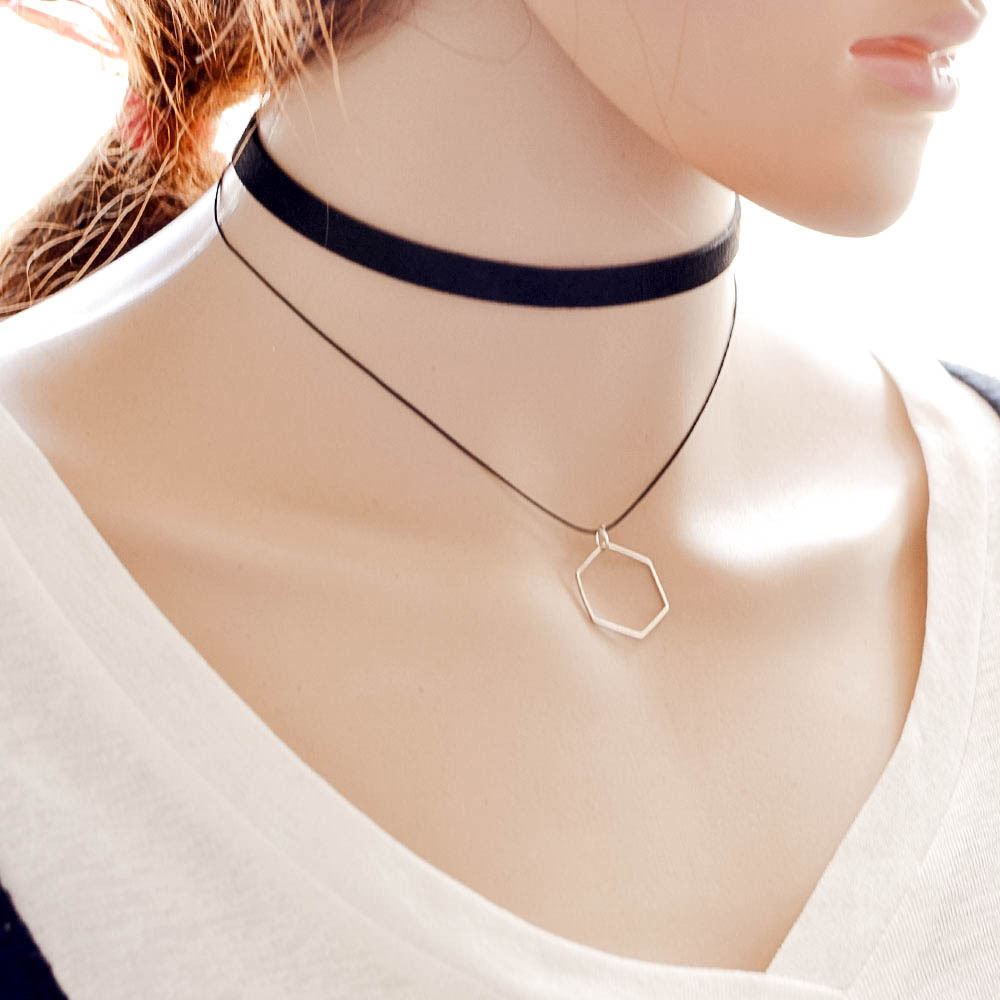 7c52dc35bf1e0 US $1.2 |AIFFRY Fashion Women Choker Necklaces Multilayer Black Choker  Necklace Triangle Pendant Jewelry Collar Necklace for Women N2407-in Choker  ...