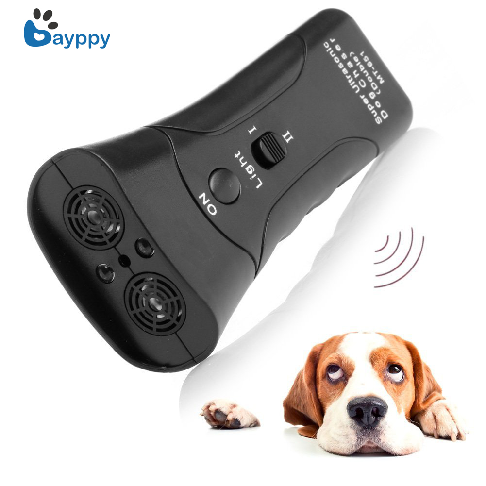 High Quality Newest Ultrasonic Dog Chaser Stop Aggressive Animal Attacks Repeller for Dogs Anti Barking Stop Bark Flashlight