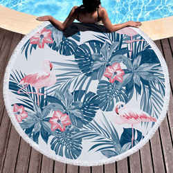 Summer Flamingo Leaf Flower Printed Circle Round Towel Oversized Large Microfiber Thick Terry Beach Blanket Serviette De Bain