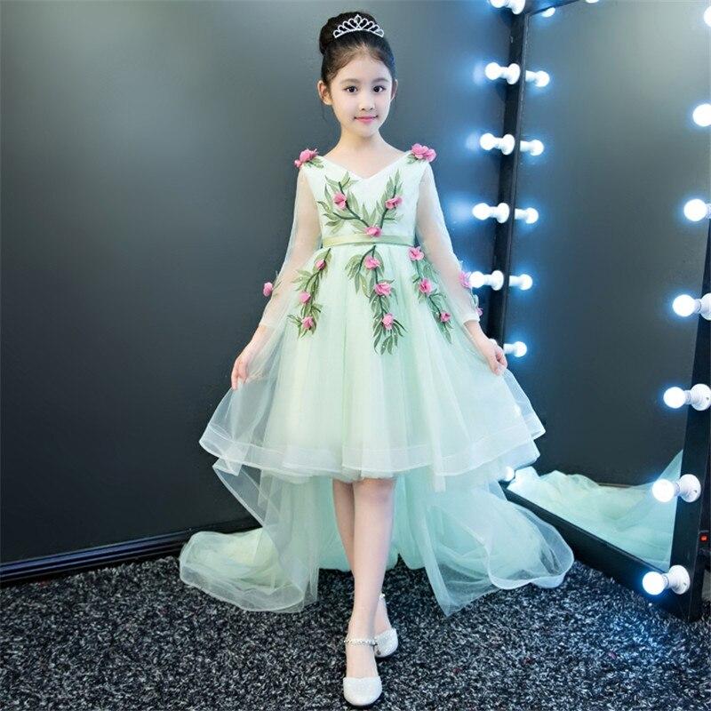 Luxury Elegant Children Girls Birthday Wedding evening Party Embroidery Flowers Mesh Long Trailing Dress Kids Model Show Dress