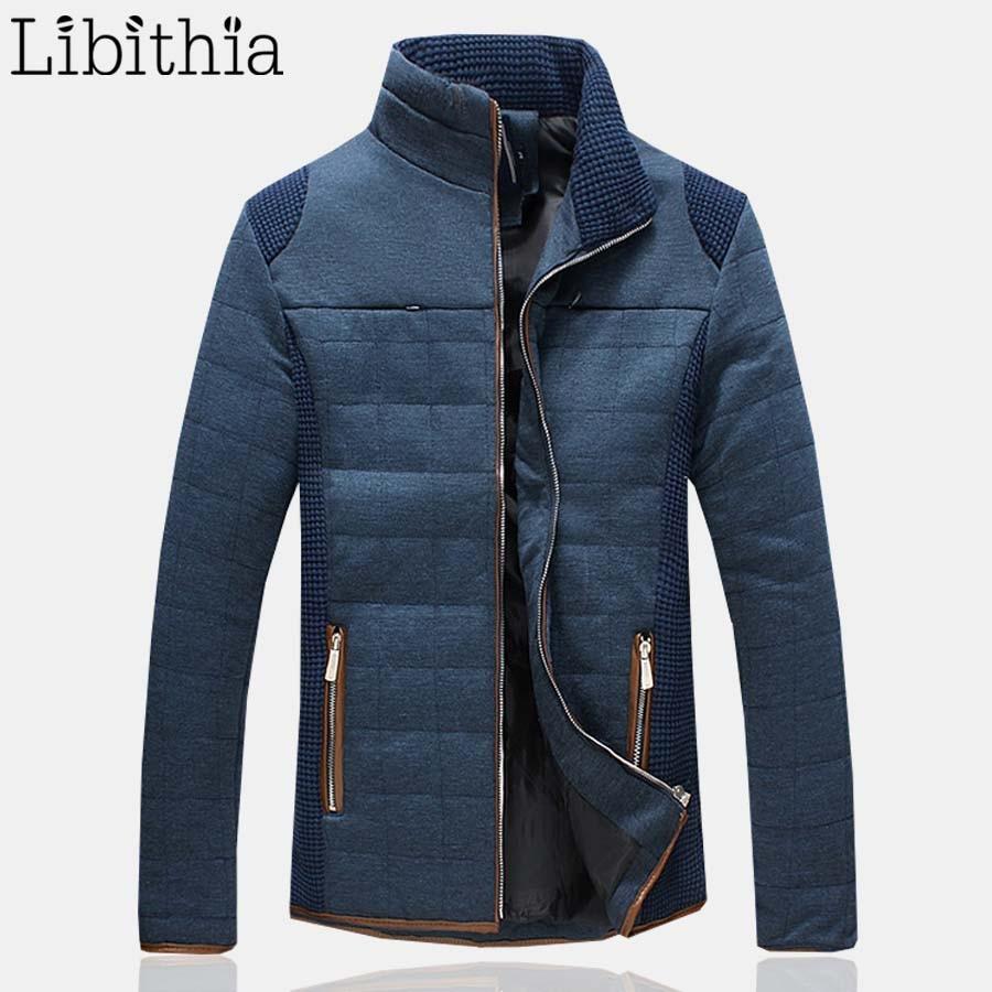 ФОТО Winter Nylon Jacket Men Casual Cotton Down Parka Men Zipper Coats Male With Stand Collar Plus Size 5XL Blue Grey K156
