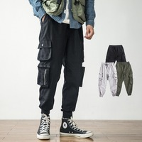 Multi pocket bib overall men jogger army green high street cargo casual pants loose streetwear fashion hip hop trousers mens