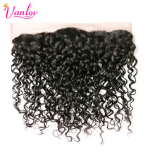 Vanlov Water Wave Ear To Ear Lace Frontal Closure Human Hair Bundles Free Part Natural Color Non Remy Weaving Free Shipping